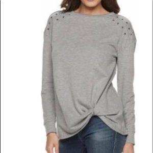 R&R Heathered Tucked Hem Studded Sweatshirt